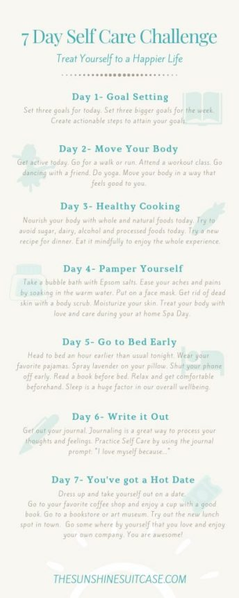 7 Day Self Care Challenge The Sunshine Suitcase