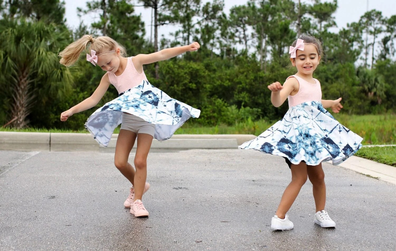 Bows: Merci Bow Coup, Dresses: The Heartistry Shoppe, Sneakers: FabKids