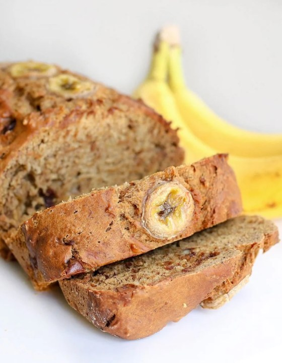 Vegan Banana Bread with Nuts + Chocolate Chips