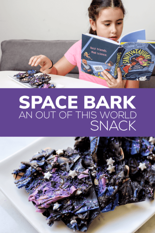 We've partnered with Disney Books to bring you an out of this world snack. We took chocolate covered peanuts to the next level. Inspired by #SanityandTallulah by Molly Brooks, Space Bark is the perfect combo of salty + sweet.