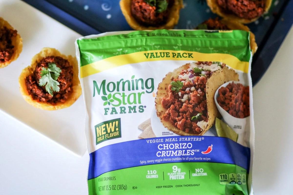 "Shrimp + ""Chorizo"" Tostones Bowls - Featuring MorningStar Farms® Chorizo Crumbles"