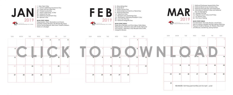 editorial calendar, printable, free printable, bloggers, bloggers guide, important dates, calendar, blog topics, mom blog, mom blogger, mommy blog, mommy blogger, 2018, family blog, parenting blog, the super mom life, thesupermomlife, parenting blogger, family blogger
