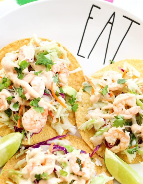 Lime and Cilantro Shrimp Tostadas