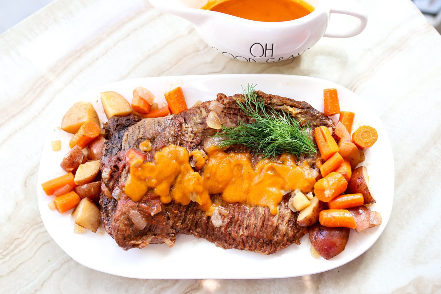 pot roast potatoes and carrots with homemade gravy