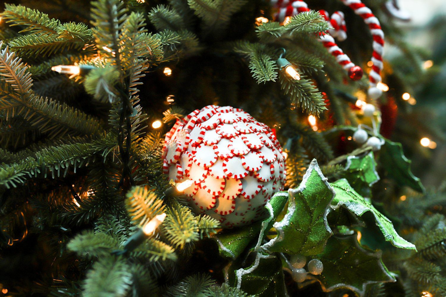 Peppermint Candy ornament on a Christmas Tree