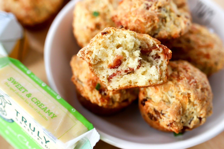 inside of a cheesy bacon irish soda bread muffin