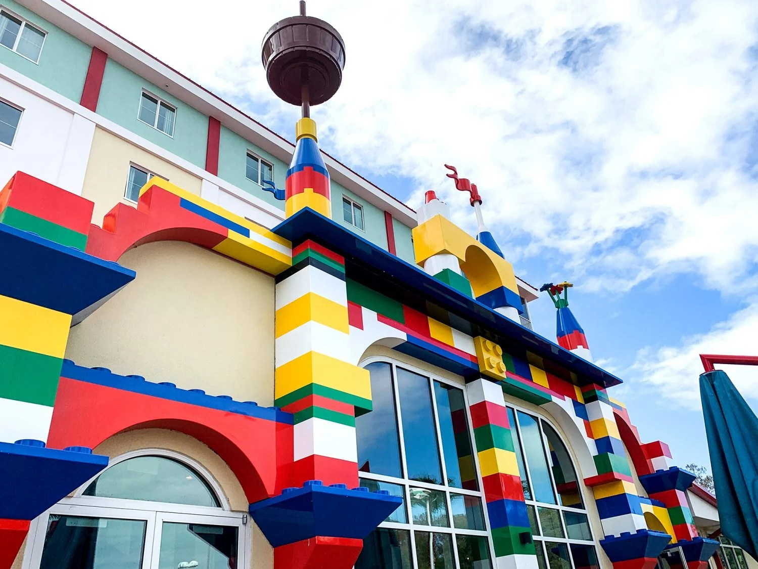 the back view of the Legoland Hotel in Florida