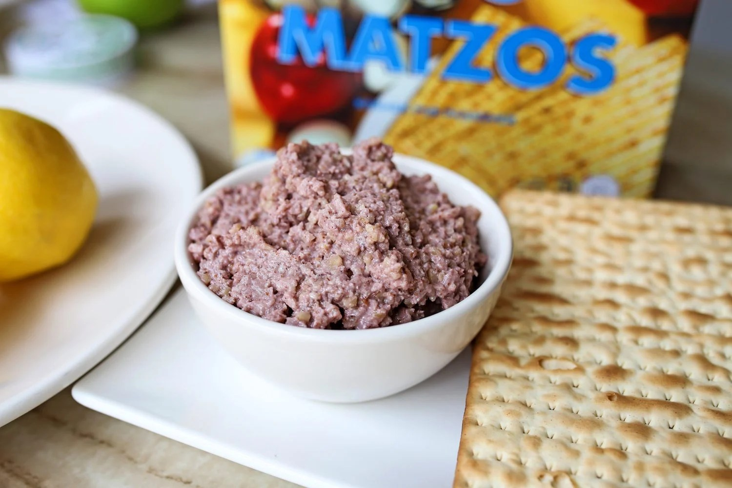 plate of charoset with matzoh