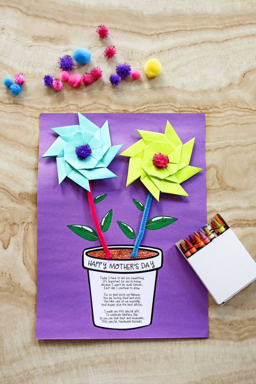 Happy Mother's Day printable flower pot craft on a table