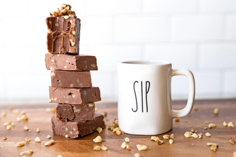 small Rae Dunn mug next to a stack of Nutella fudge