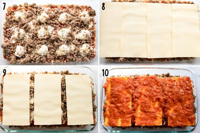 steps to make a cheesy and meaty lasagna