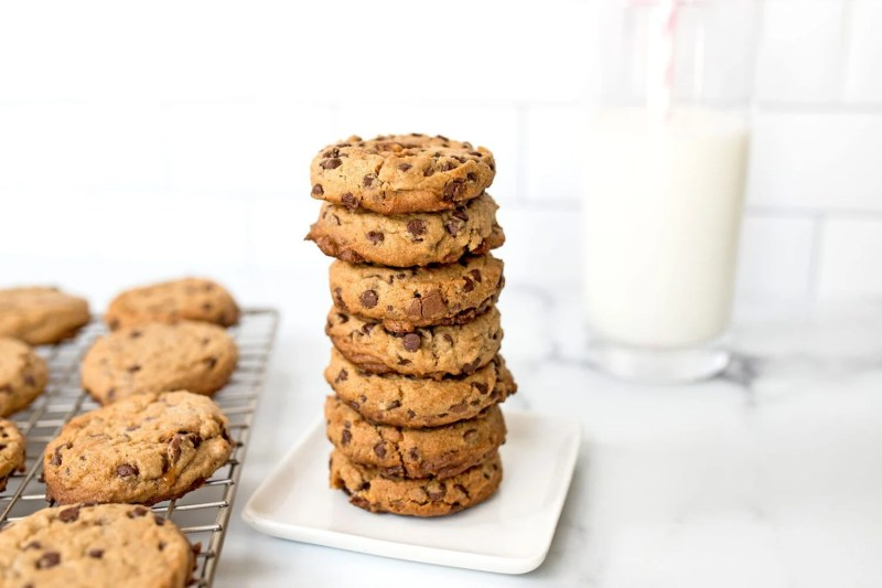stack of peanut butter chocolate chip snickers cookies