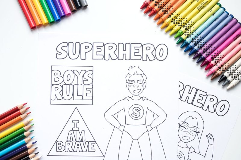 superhero coloring pages with crayons markers and colored pencils