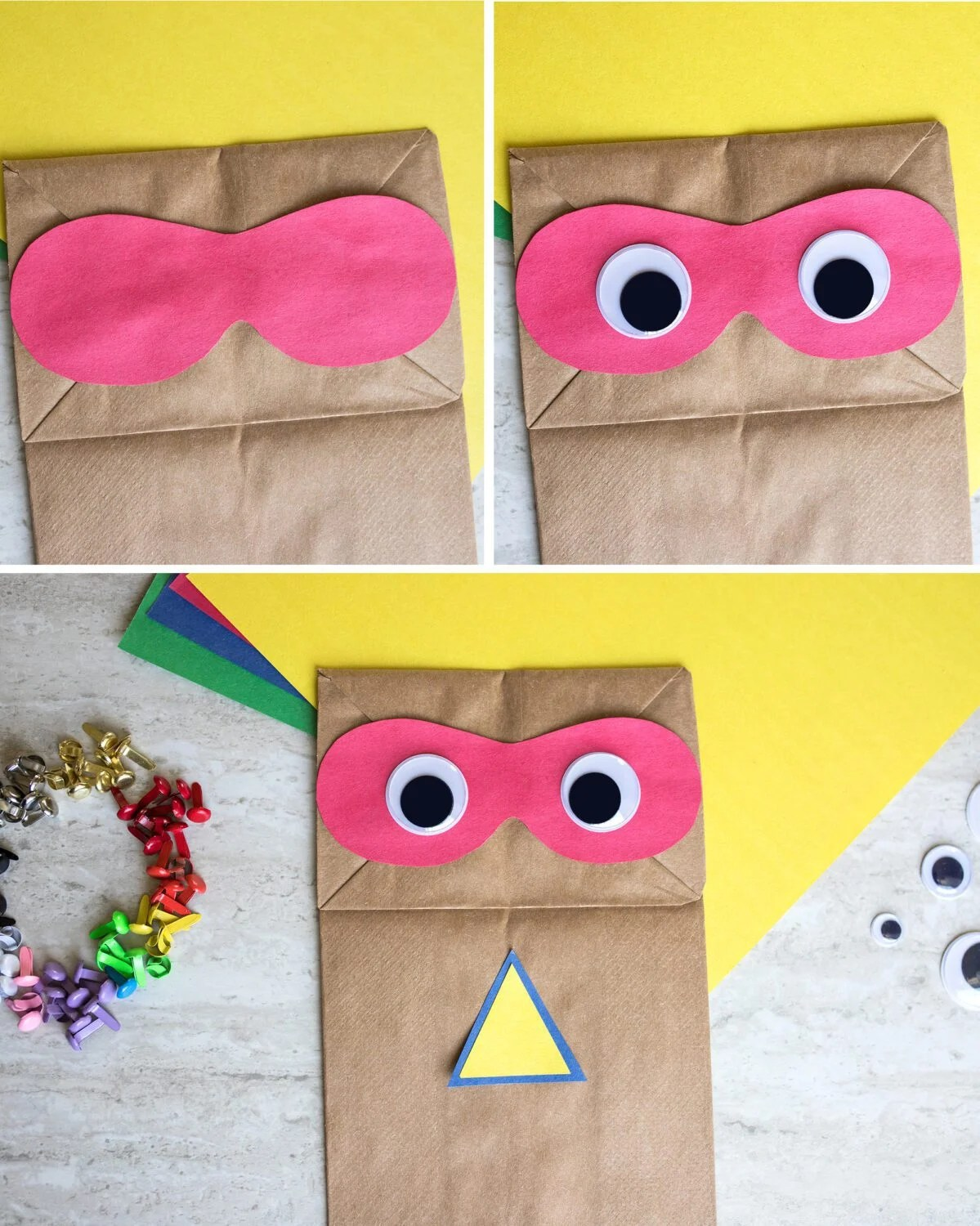 first few steps of the superhero paper bag craft