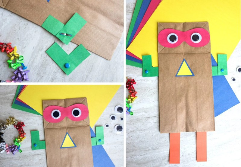 adding arms and legs to create a superhero paper bag