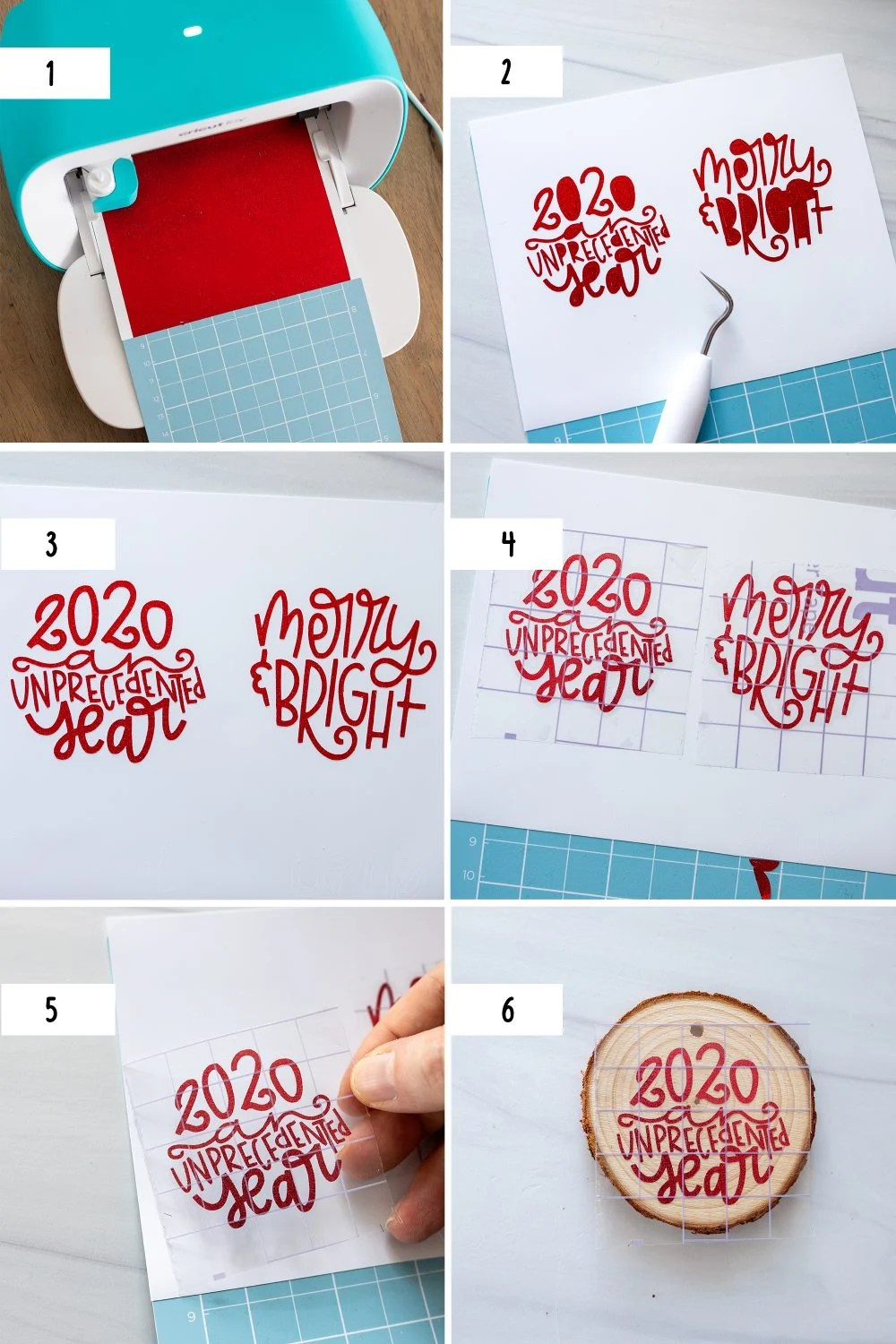 first six steps to make a DIY wood slice ornament