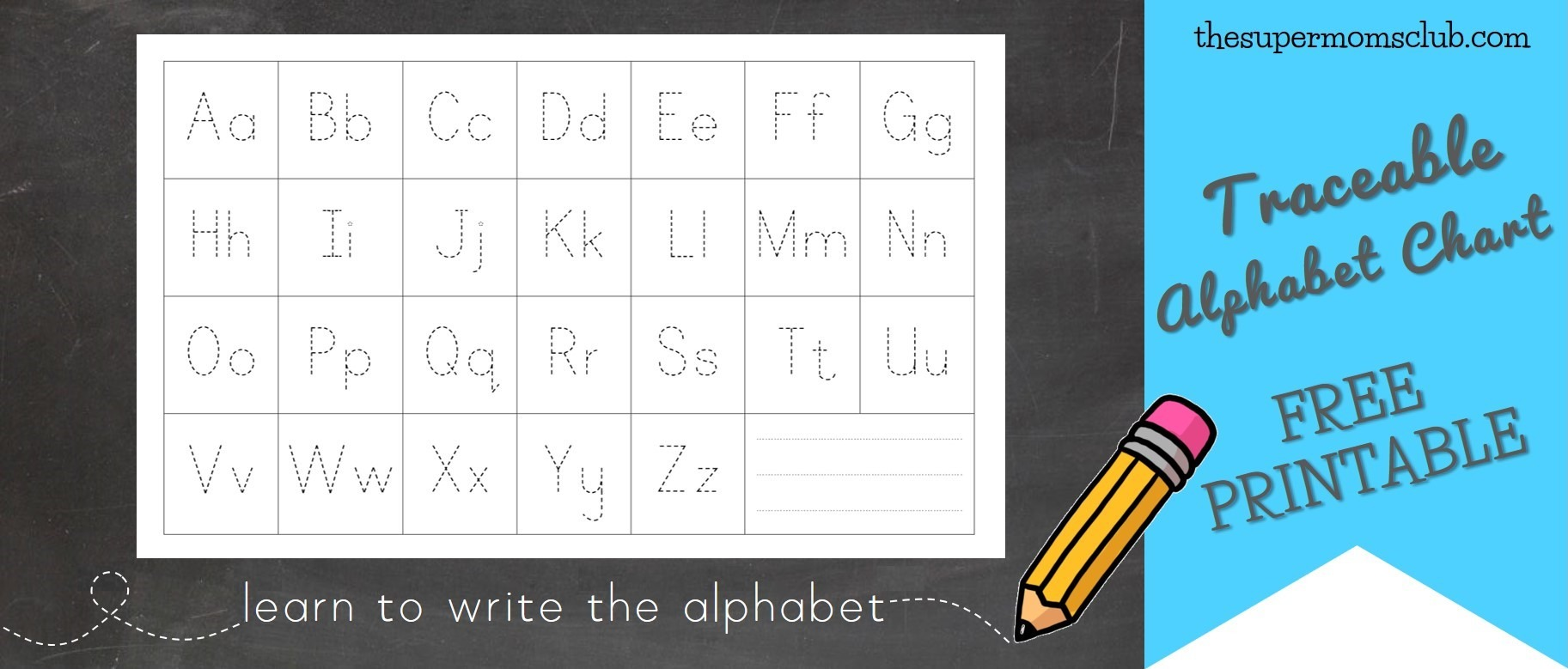 photo about Alphabets Chart Printable known as Totally free Traceable Alphabet Chart - The Tremendous Mothers Club