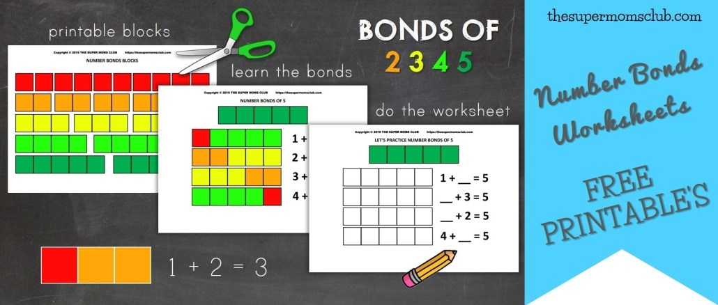 Number Bonds Intro + Worksheets For Numbers 2, 3, 4 & 5 - thesupermomsclub.com
