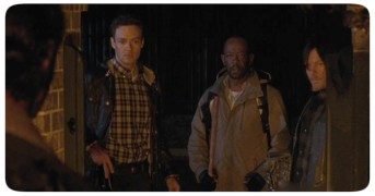 Daryl, Aaron, and Morgan arrive back in Alexandria just in time to see Rick kill Pete in cold blood