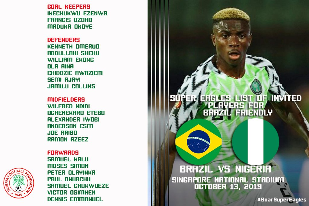 Super Eagles squad for October's friendly vs Brazil