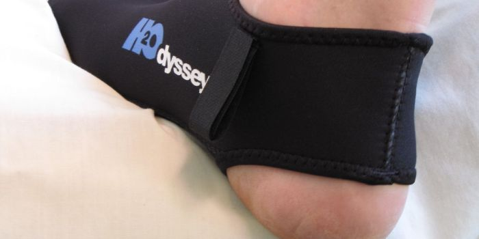H2Odyssey Fin sock back view on foot