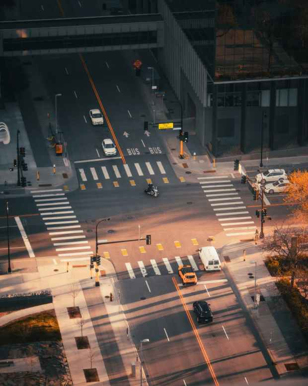 busy intersection during rush hour