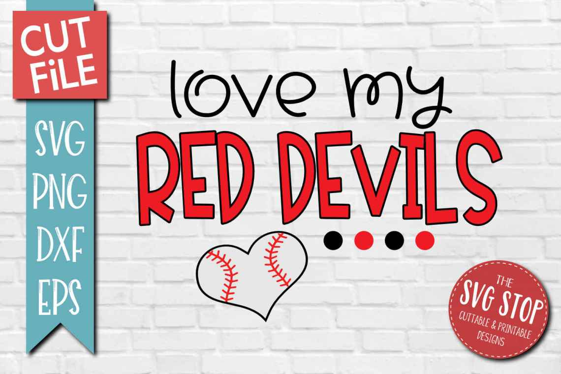 Download Baseball Love Red Devils - SVG, DXF, PNG, EPS - Cut File