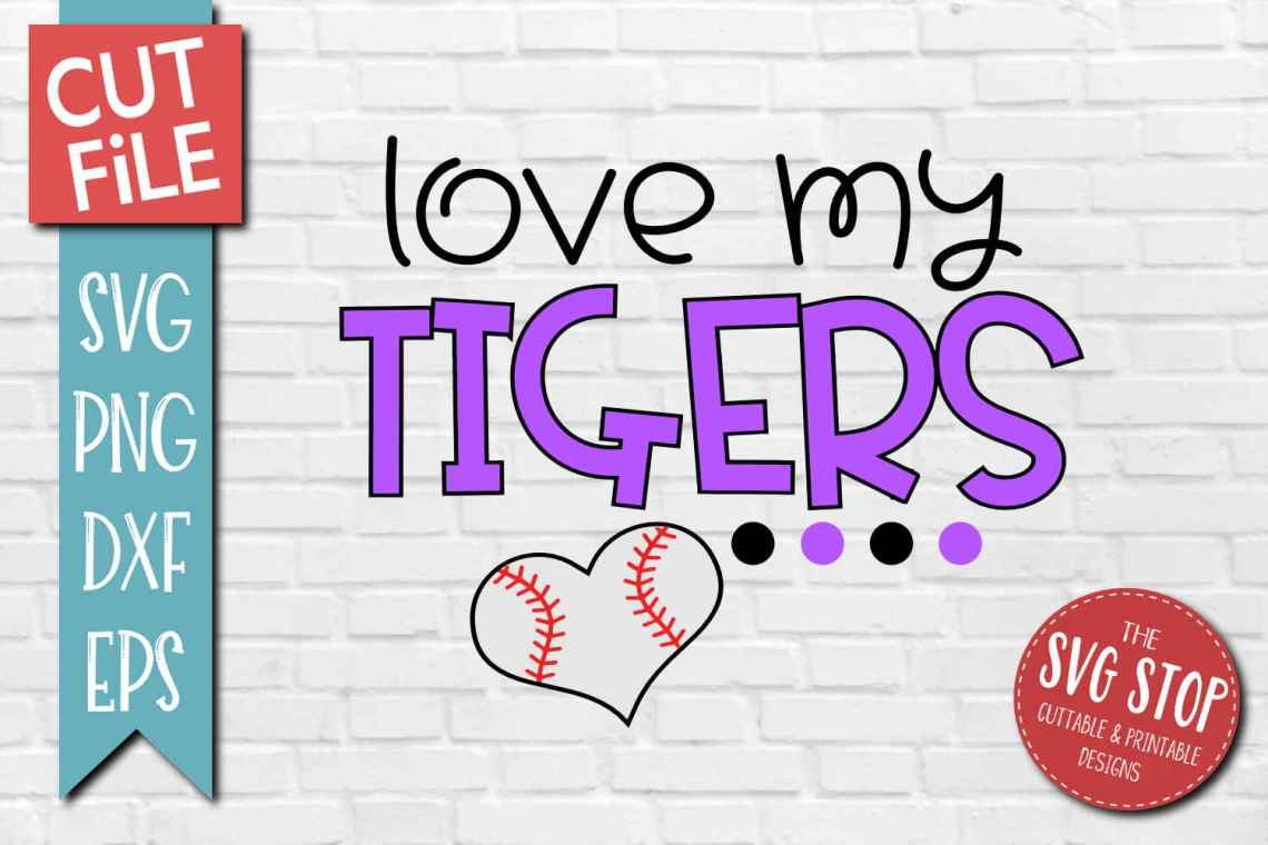 Download Baseball Love Tigers - SVG, DXF, PNG, EPS - Cut File