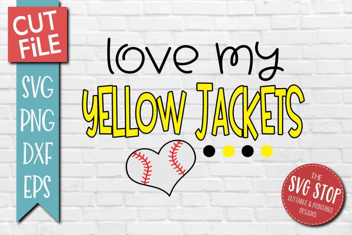 Download Baseball Love Yellow jackets - SVG, DXF, PNG, EPS - Cut File