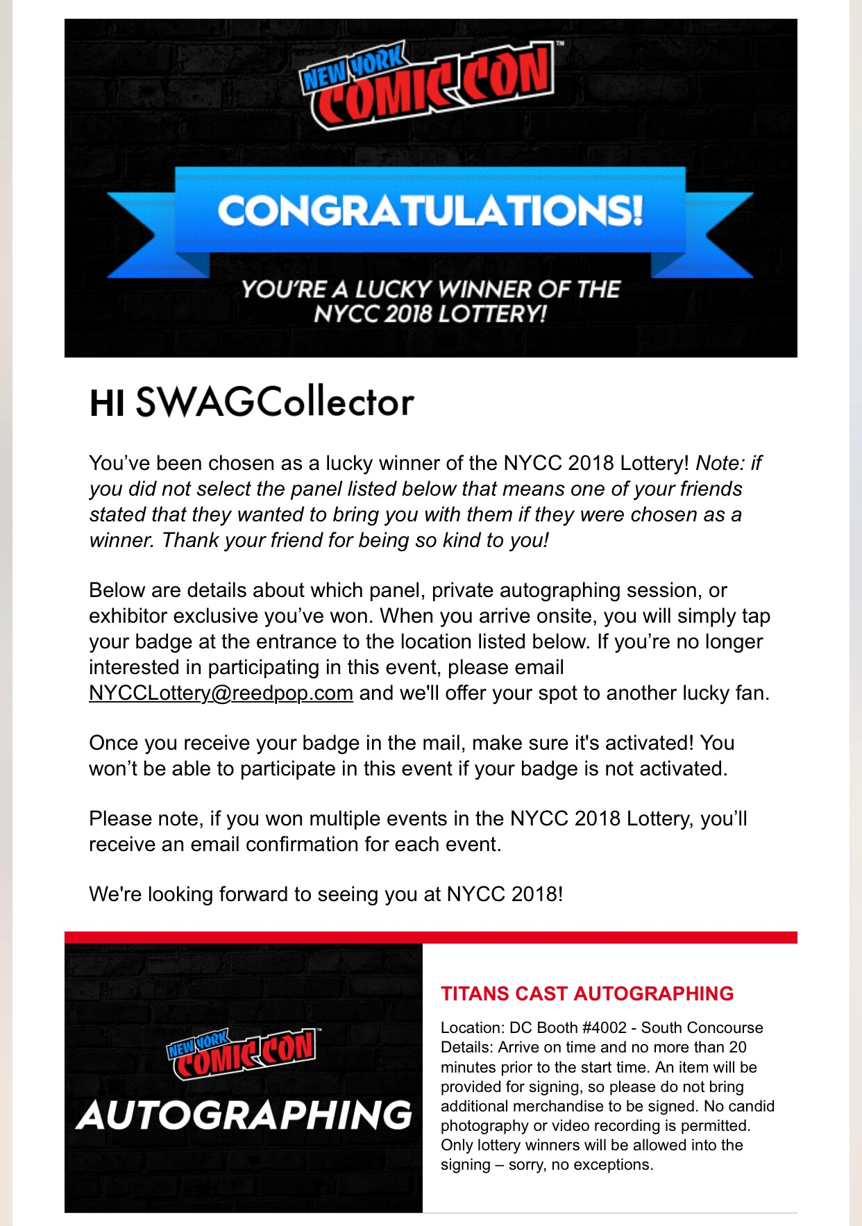 New York Comic Con – The SWAG Collector
