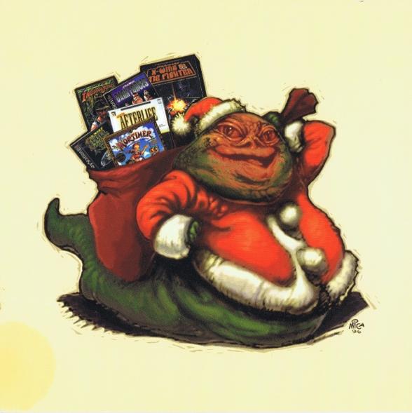 1996 LucasArts Christmas Card Jabba As Santa Star Wars