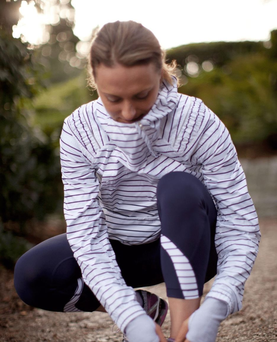 Lululemon Quiet Stripe Pack And Go Pullover, Deep Indigo and Quiet Stripe Inspire Crops