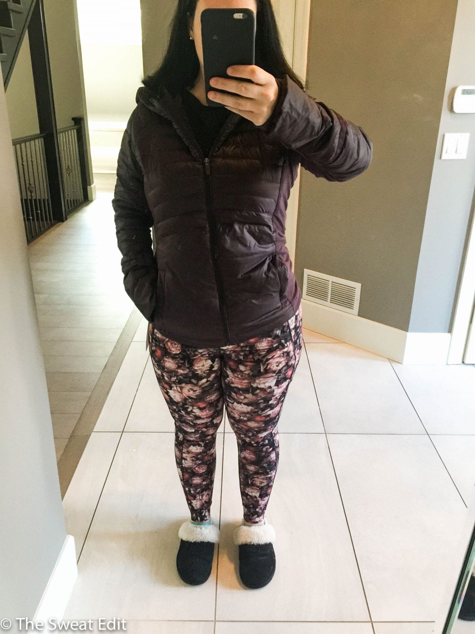 Lululemon Black Cherry Down For A Run Jacket and Peony Fast & Free 7/8 Tights