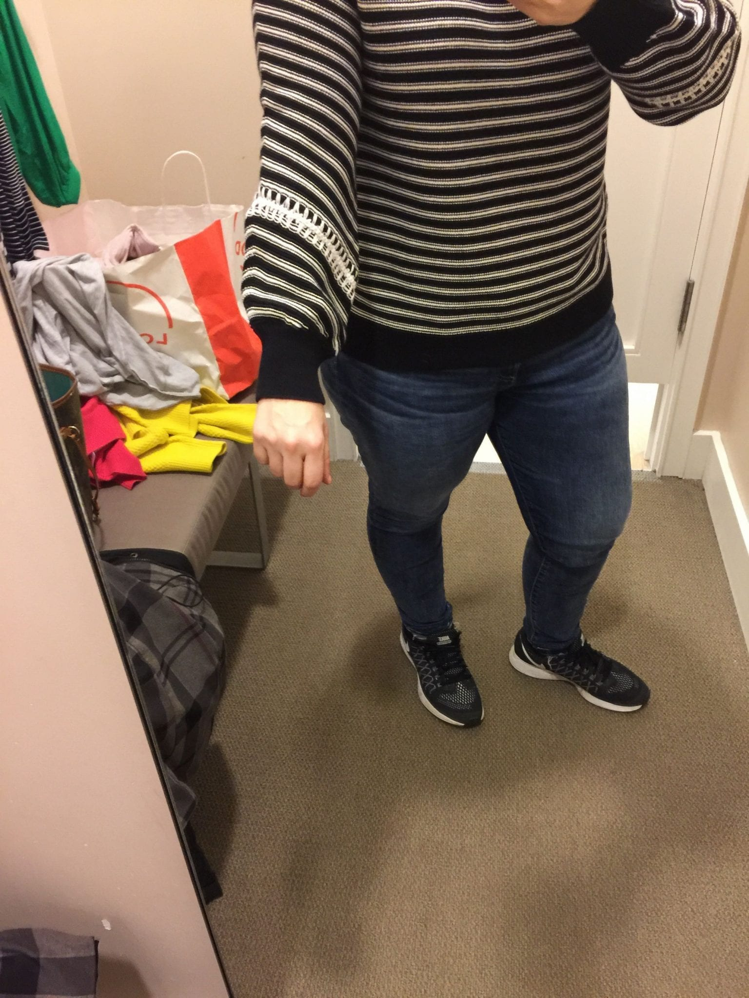 Loft: Striped Whipstitch Sweater