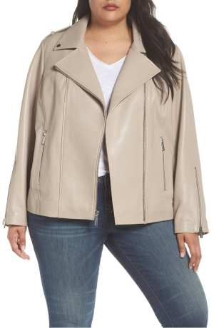 Classic Leather Moto Jacket MICHAEL MICHAEL KORS Taupe
