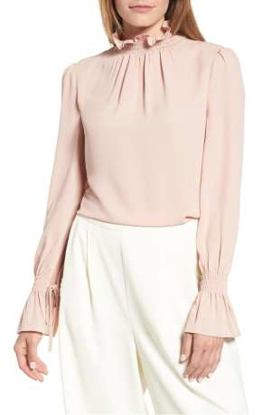 Smocked Neck Blouse VINCE CAMUTO Pink