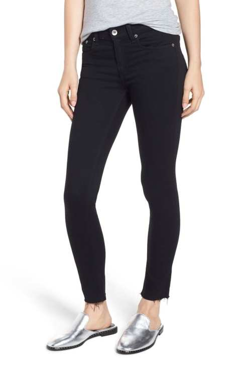rag & bone/JEAN Raw Hem Ankle Skinny Jeans (Black Raw Hem)