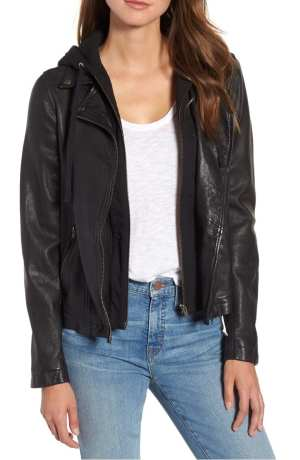 Hooded Leather Moto Jacket CASLON®