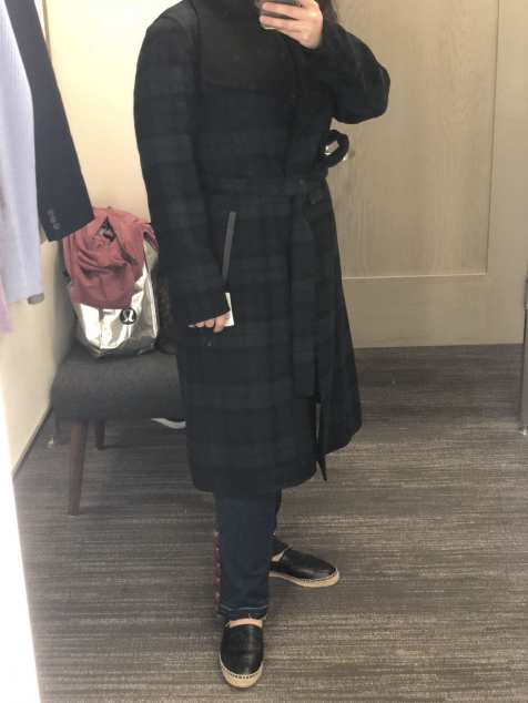 Mackage Plaid Double Face Wool Leather Belted Coat, Nordstrom Anniversary Sale 2018 Fitting Room Try-Ons