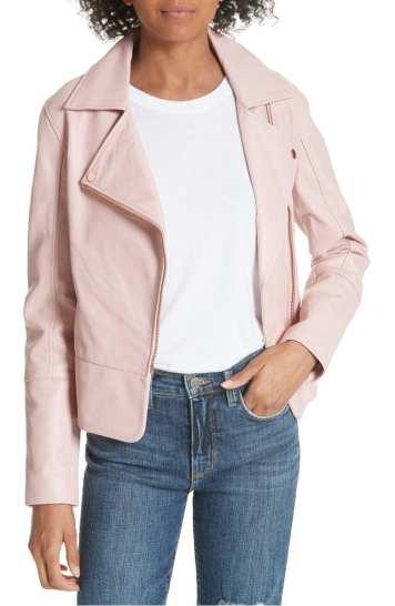 Pink Lizia Leather Biker Jacket