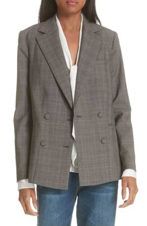 Plaid Double Breasted Wool Blazer FRAME