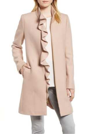 Ruffle Twill Coat KENSIE