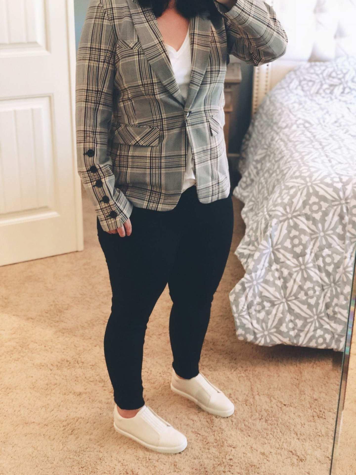 Steel Jacket with Removable Turtleneck Dickey VERONICA BEARD, Nordstrom Anniversary Sale 2018, Vince Cantara Slip-On Sneakers, Rag & Bone Raw Ankle Skinny Black Jeans