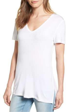 Halogen V-Neck Tunic Tee White