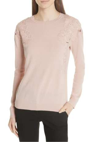 yizelda Lace Shoulder Sweater TED BAKER LONDON Pink