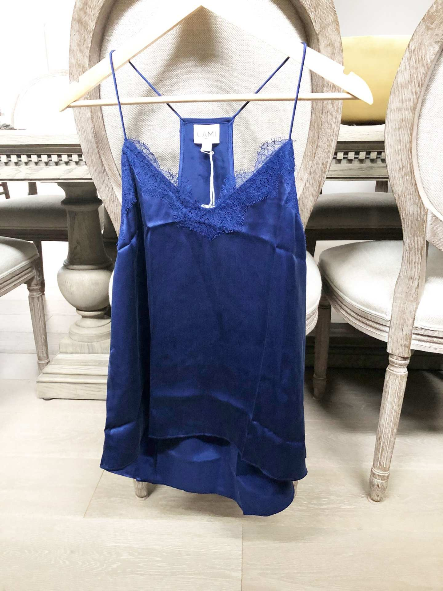 CAMI NYC Racer Charmeuse Top Sapphire