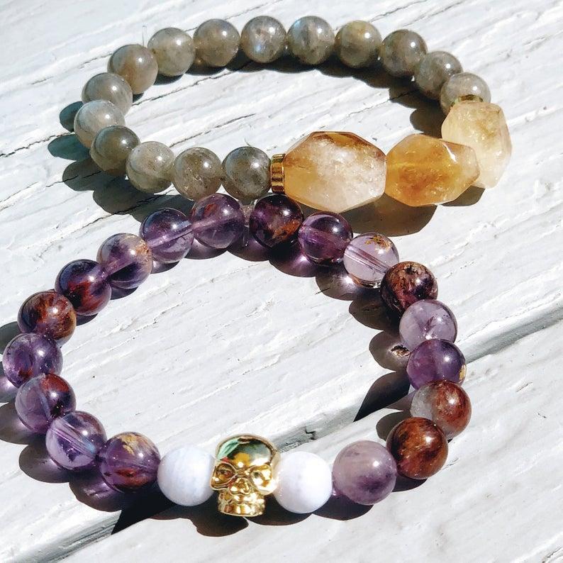 Citrine and Super Seven Mala Bead Bracelets by Empress Mala Designs