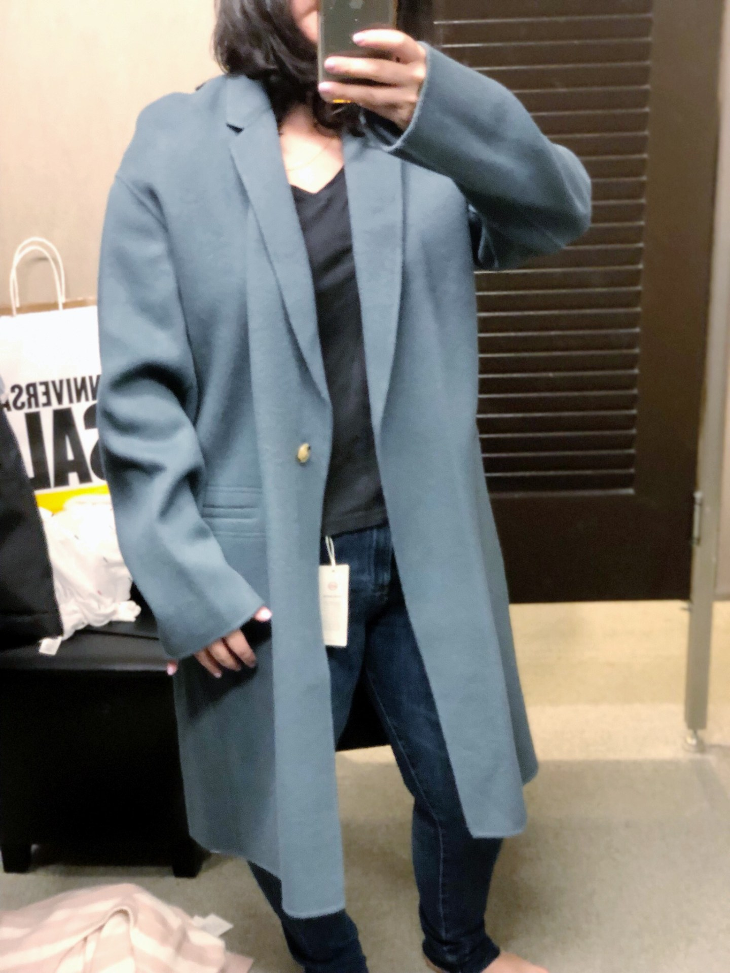Double Face Wool Blend Coat VINCE, Anniversary Sale 2019, Nordstrom, Anniversary Sale Dressing Room Selfies