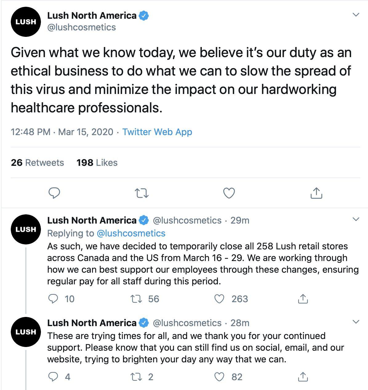 Corona Virus Closures Lululemon and Lush to Close All Stores March 16, Corona Virus Retail Closures