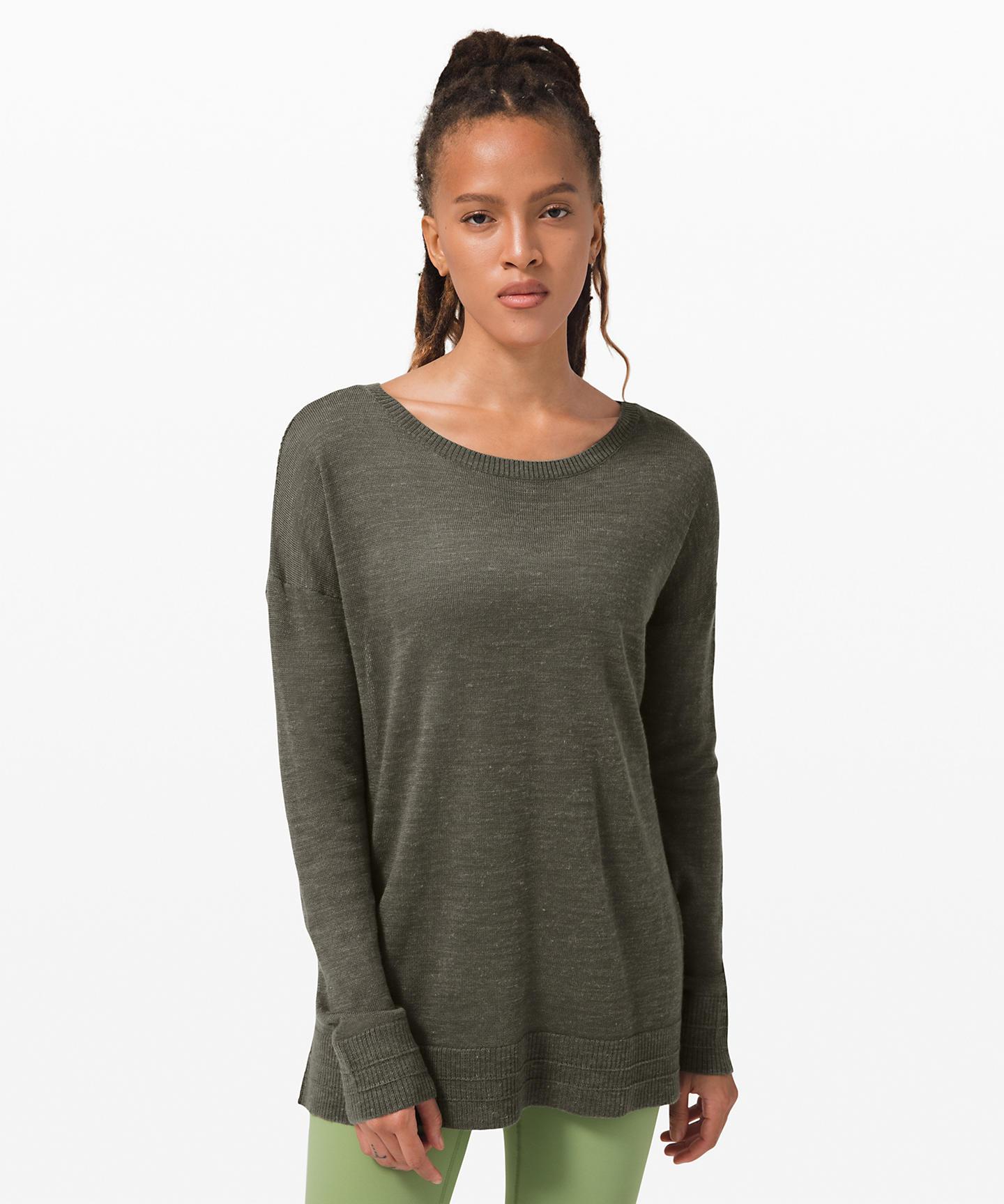 Well Being Crew Sweater Linen_grey sage